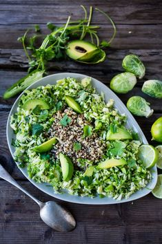 EAT CLEAN with these 20 simple Plant-Based Meals!!! | Mexican Brussel Sprout Slaw and Quinoa with avocado, chili and lime...vegan and gluten free, a fast and tasty meal! | www.feastingathome.com