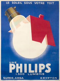 Philips - Le Soleil sous votre toit by Orsi | Shop original vintage #posters online: www.internationalposter.com.