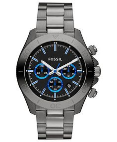 Fossil Watch, Men's Chronograph Retro Traveler Gray-Tone Stainless Steel Bracelet 45mm   thinking about this for my boyfriends birthday in may.