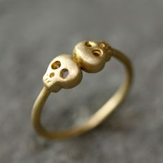 Double Baby Skull Ring in Brass