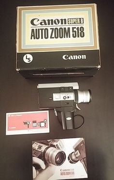 VINTAGE CANON 518 SV SUPER 8 MOVIE AUTO ZOOM CAMERA, CASE MANUAL, WRIST STRAP #Canon