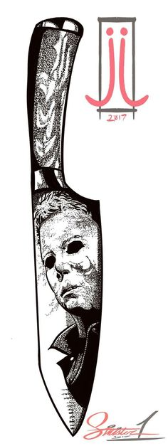 Not going to miss Halloween! Michael Myers and chef's carving knife done with pointalism! Terrifying Movies, Confidence Tattoo, Pointillism Tattoo, Knife Drawing, Knife Tattoo, Simple Tattoo Designs, Halloween Illustration, Dot Work Tattoo, Michael Myers