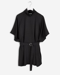 Zip Collar Belt Top Black
