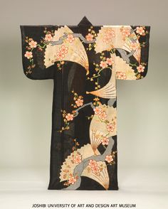 Katabira with fans and Japanese plum trees, 18th century | Tie dyeing (shibori), printed freckled patternwith emboss treatment (uchidasi-kanoko) and embroidery on indigo plain weave silk (habutae) ground