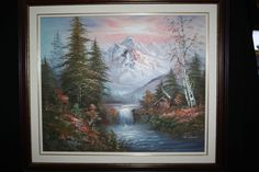 R Weaver Landscape Signed Oil On Canvas Painting Mountain Cabin Trees Waterfall