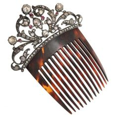 c.1900 Victorian Tortoise Hair Comb set with Diamond and Rubies in Silver/Gold