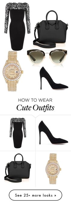"""Cute night outfit"" by desarethemakeupartist on Polyvore featuring Gucci, Gianvito Rossi, Givenchy, Rolex and Christian Dior"