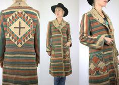 1930s Chimayo Navajo Wrap Full Length Indian Blanket Jacket
