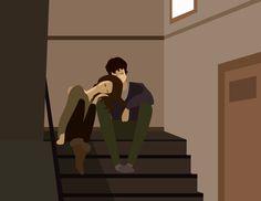 Vieni qui, ti spiego com'è stare tra le tue braccia. L'hai mai fatto un viaggio importante? Anche breve, uno di quelli che ti portano a fare un esame universitario, un'interrogazione, un colloquio, una visita medica urgente. L'hai mai fatto? Credo proprio di sì. Ecco. Stare tra le tue braccia è il viaggio di ritorno, quando finalmente è tutto ok. #graphic #couple #stairs #love