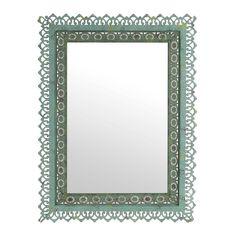 $65. Adele Distressed Green Framed Mirror, 25x33 | Kirklands