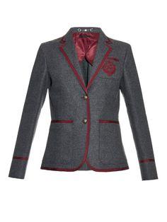 Gucci Embroidered-pocket wool-blend blazer