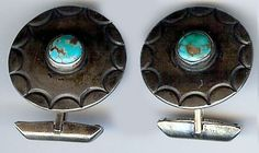 VINTAGE NAVAJO INDIAN STERLING SILVER  TURQUOISE CIRCLE CUFFLINKS