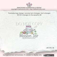 mason jar logo, custom Jar logo design hand drawn, sketch jar photography logo business logo boutique by princessmi  1175-18