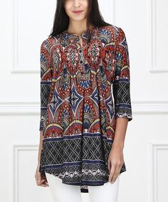 Loving this Red Abstract Notch Neck Tunic on #zulily! #zulilyfinds