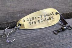 Spoon Lure Copper Anniversary Gift Brass Father's Day Personalized Fishing Gift for Dad Husband Uncle Promoted to Big Brother Spinner Men Cool Gifts, Unique Gifts, Best Gifts, Gifts For Brother, Gifts For Him, Guy Gifts, Fishing Gifts For Dad, Promoted To Big Brother, Copper Anniversary Gifts