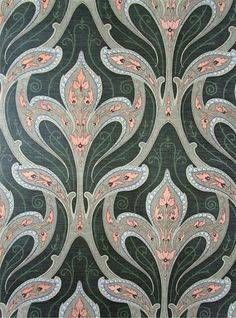 Art Nouveau Vintage Wallpaper SANDERSON Beautiful green, blue, pink color palette in a wonderfully scaled pattern Art Nouveau Pattern, Art Nouveau Design, Pattern Art, Textiles, Textile Patterns, Textile Design, Vintage Wallpaper Patterns, Pattern Wallpaper, Vintage Wallpapers
