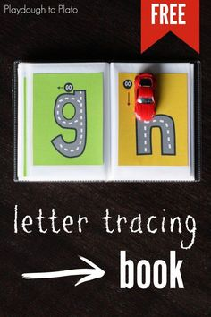 Awesome ABC book! Trace the alphabet roads with a Matchbox car. There's a free uppercase and number version too- great for busy bags with preschool and kindergarten kids! #abcfun #busybags #playdoughtoplato