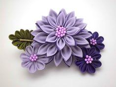 Purple Dahlias Kanzashi Hair Comb/ Tsumami Kanzashi/ Dahlia Flower Headpiece…