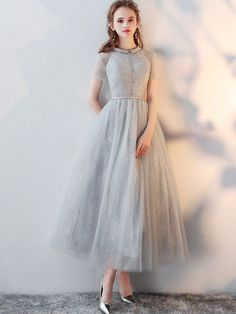 Flash Sale Gray Lace Turn-down Collar Short Sleeves Tulle A-Line Dresses with ...  #Aline #collar #dresses #Flash #gray #Lace #Sale #short #sleeves #tulle #Turndown