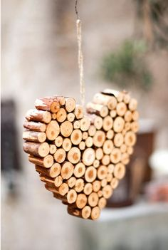heart made from pieces of wood