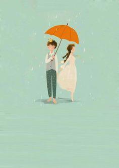 Isso me define! Couple Illustration, Art Et Illustration, Illustrations, Umbrella Art, Under My Umbrella, Cute Couple Cartoon, Rain Painting, Parasols, Cute Anime Couples