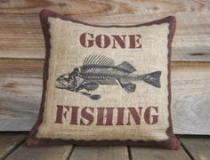 Gone Fishing Pillow Cover, Burlap Throw Pillow, Cushion Cover, Feed Sack Pillow, Natural, Brown Black Red, Fish, Rustic, 16x16. $46.00, via Etsy.