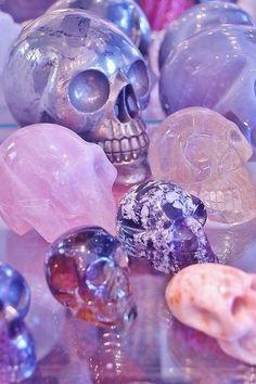 Pink purple pastel quartz crystal skulls