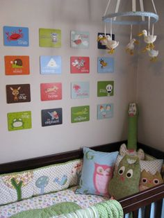 Shabby Chic Nursery. Hey we carry those Julius flash cards! http://www.gofiddleheads.com/nursery/wall-art/julius-alphabet-flash-cards.html