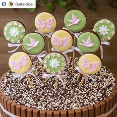 #Repost @festeirice ・・・ KIT DECORAÇÃO + KIT DOCES E para acompanhar nossa Decoração com tema Jardim, a turma da @pieceofcakebr fez um Kit Doces de arrasar!!!! Além de delicioso está lindo demais!!!! Reparem no detalhe dos pirulitos de chocolate decorados sobre o bolo  Vem bolo e doces para festas de 30, 50 ou 80 pessoas - para saber preço e comprar, visite nossa loja virtual! (Link no perfil @festeirice) #festainfantil #docedefesta #festajardim #kitfesta #festaemcasa #festacomamor