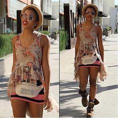3Eva Marcille Bohemian Look! Forever 21 skirt Top Shop Hat  Atrium Bag  free people shirt  H Sunglasses