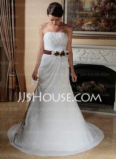 Wedding Dresses - $146.29 - Sheath/Column Sweetheart Court Train Chiffon Satin Wedding Dress With Ruffle Sashes Flower(s) (002012892) http://jjshouse.com/Sheath-Column-Sweetheart-Court-Train-Chiffon-Satin-Wedding-Dress-With-Ruffle-Sashes-Flower-S-002012892-g12892