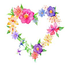 detailed pretty drawings flowers and hearts Wreath Watercolor, Watercolor Flowers, Art Floral, Vintage Clipart, Herz Tattoo, Pretty Drawings, I Love Heart, Heart Art, Pretty Flowers