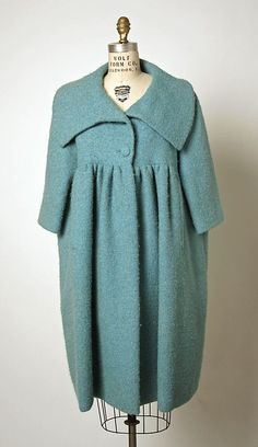 Coat.  House of Balenciaga  (French, founded 1937).  Designer: Cristobal Balenciaga (Spanish, 1895–1972). Date: spring/summer 1958. Culture: French. Medium: wool, silk. Dimensions: Length at CB: 40 in. (101.6 cm).