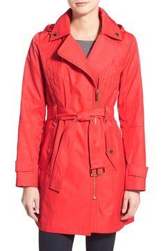 MICHAEL MICHAEL KORS Asymmetrical Hooded Trench Coat. #michaelmichaelkors #cloth #