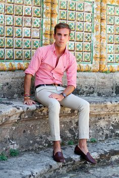 Filippo Cirulli - pink stripe Polo Ralph Lauren shirt, vintage black Gucci belt, dark brown bow tie loafers