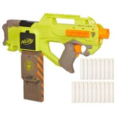 "The NERF N-Strike Rayven CS-18 is an interesting new fly wheel, bullpup foam dart blaster.  The ""Firefly"" illuminating clip and glow streamline darts are a neat feature.  Overall, it is compact with a high rate of fire.  The use of AA batteries makes it lightweight and makes voltage mods quick, easy and reversable.  Compatible with other NERF clips and drums.  Great addition to any arsenal."
