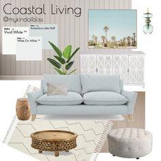 My KInd of Bliss Mood Board- Coastal Living/ Hamptons Style/ Coastal Home Coastal Living Rooms, Coastal Cottage, Coastal Decor, Coastal Country, Coastal Interior, Coastal Farmhouse, Coastal Homes, Country Living, Modern Coastal