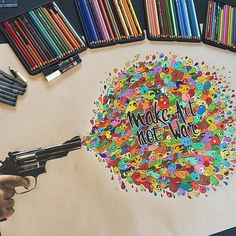 """'Make Art Not War' is finally finished ✏️ This artwork is made for the 'Kunstbende' competition in Belgium (I got to the finale ). I spent almost 30 hours drawing it (it is on A1 size) I really hope you like it (Timelapse video coming soon) Check out my Print Giveaway in the previous post  <a href=""""http://musapg.catspray.hop.clickbank.net/""""><img src=""""http://www.catsprayingnomore.com/images/banners/standard/ad3.jpg"""" border=""""0"""" alt=""""Cat Spraying No More"""" /></a>"""