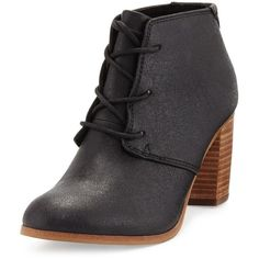 Toms Lunata Faux-Leather Ankle Boot ($58) ❤ liked on Polyvore featuring shoes, boots, ankle booties, black, block heel booties, lace up ankle boots, black bootie, black ankle boots and black booties