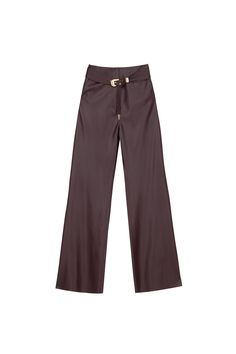 An upgraded and super cool reinvented version of past season vegan leather, the Kisa pants have been curated from the glossiest vegan leather, dyed a deep aubergine shade that has a wide leg and high waist fit that flatters everyone. The 70's style has been accentuated with a matched tone and texture belt with gold hardware and intricate seam detailing. Maxi Pants, Modern Bohemian, Jean Paul Gaultier, Trousers Women, Gold Hardware, Black Pants, Vegan Leather, High Waist, Wide Leg