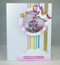 kid - Kara Lynne's Card Designs: Rainbows, Unicorns, Glitter, and a Shaker! Unicorn Birthday Cards, Kids Birthday Cards, Handmade Birthday Cards, Unicorn Cards, Diy Unicorn, Unicorn And Glitter, Magical Unicorn, Rainbow Unicorn, Baby Cards