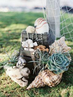 Nautical Beach Wedding Style pearls, shells, succulents, and chain Seaside Wedding, Nautical Wedding, Rustic Wedding, Beach Weddings, Wedding Vintage, Unique Weddings, On The Beach, Little Mermaid Wedding, Crazy Wedding Cakes