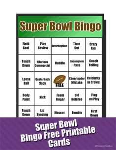 Super Bowl Free Printable Bingo Cards from Clumsy Crafter Football Party Ideas Super Bowl Party, Super Bowl Time, Super Bowl Sunday, Free Printable Bingo Cards, Free Printables, Seahawks Super Bowl, Bowl Game, Football Food, Football Parties
