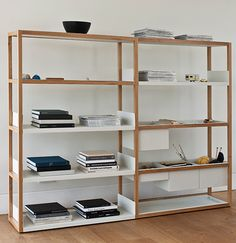 Lap shelving: Marina Bautier.    This is a simple, highly functional shelving unit comprising a solid oak frame and a variety of folded sheet metal components, which are powder-coated. These include a bookshelf, a tray shelf, a deep box end and a shallow box, which can drop into and overlap the frame. By adding an extension kit, the shelving unit can be adapted to the needs of the user.