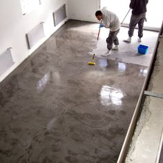 love the floor Concrete Staircase, Concrete Floors, Basement Inspiration, Floor Colors, Polished Concrete, Kitchen Flooring, Cottage Style, Home Projects, Sweet Home