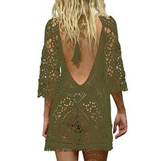 8a5ad7243f32a Jeasona Women s Bathing Suit Cover Up Crochet Lace Bikini Swimsuit Dress  (Army Green