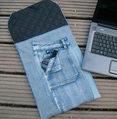 Recicle jeans velhos e crie capas para seu laptop ou notebook via pinterest