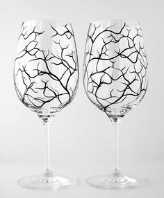 Winter Tree Branch Wine GlassesSet of 4 by MaryElizabethArts, $68.00