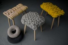 Based out of London and a graduate of the Royal College of Art, O'Brien's funky and tactile stools are a refreshingly clever rethinking of what form the ordinary stool may take (though we hope it's made with recycled fibers or some other earth-friendly yarn!).