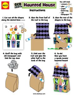 Eco Crafts: Turn a paper bag into a haunted house! #Halloween #KidsCrafts | alexbrands.com